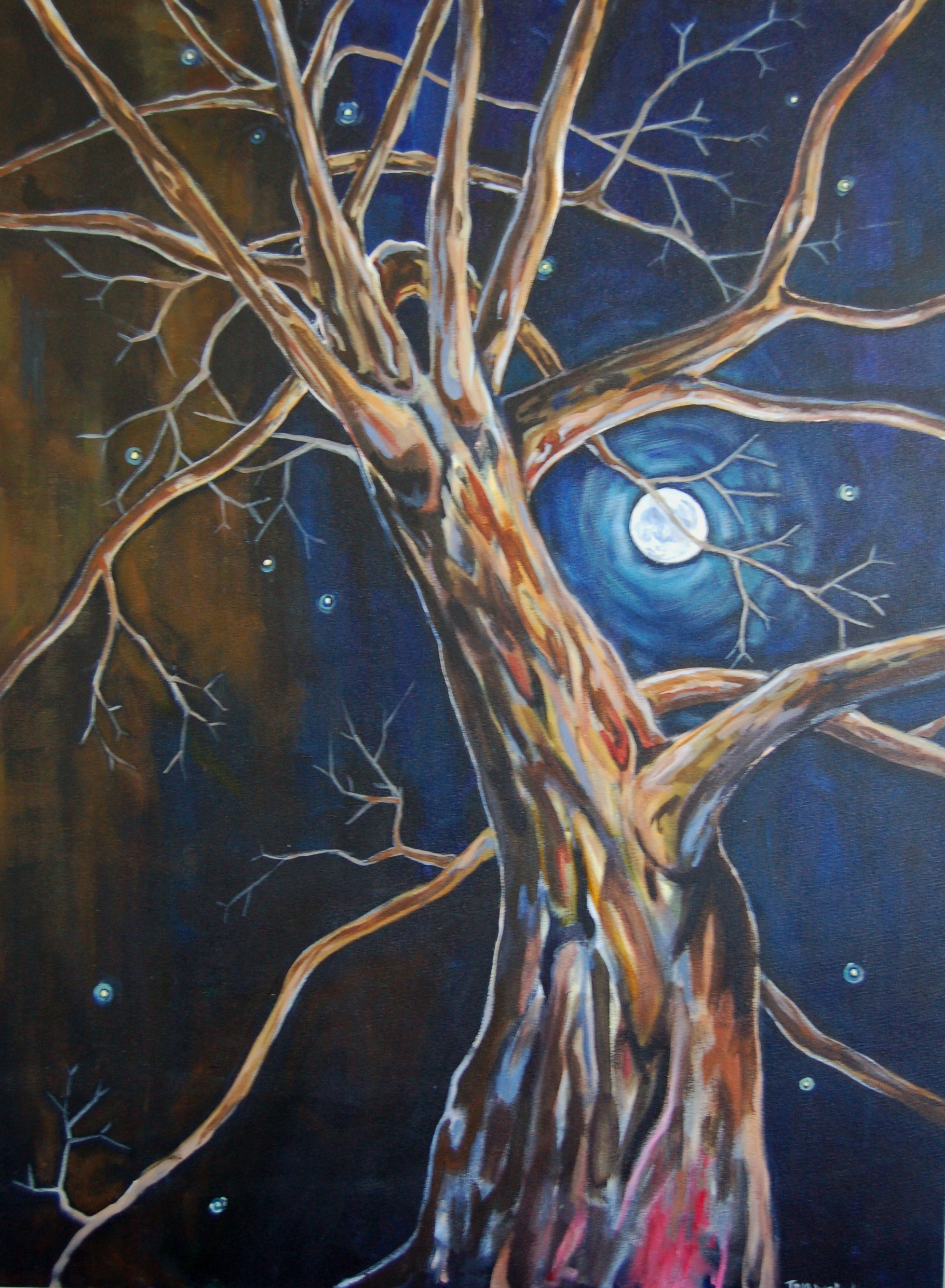 Spirit Tree and Faery Lights<br> Tom Webster<br> Acrylic on Canvas